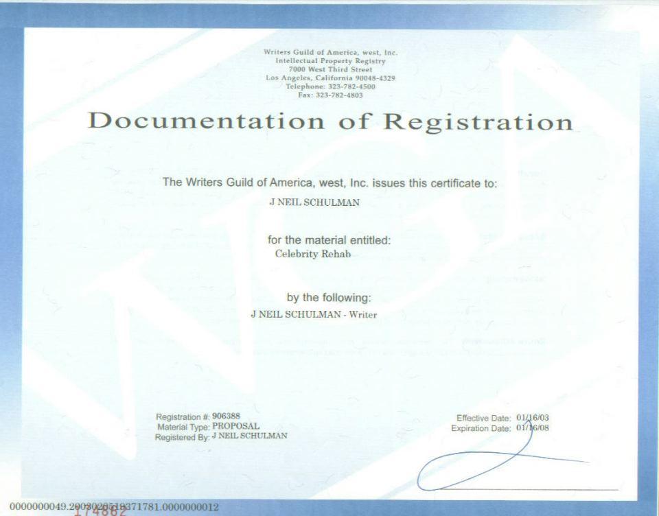 Celebrity Rehab 1-16-2003 WGA Registration Receipt