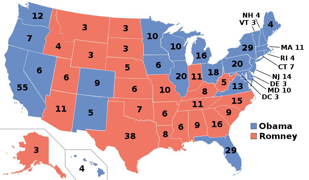2012 Electoral Voting Map