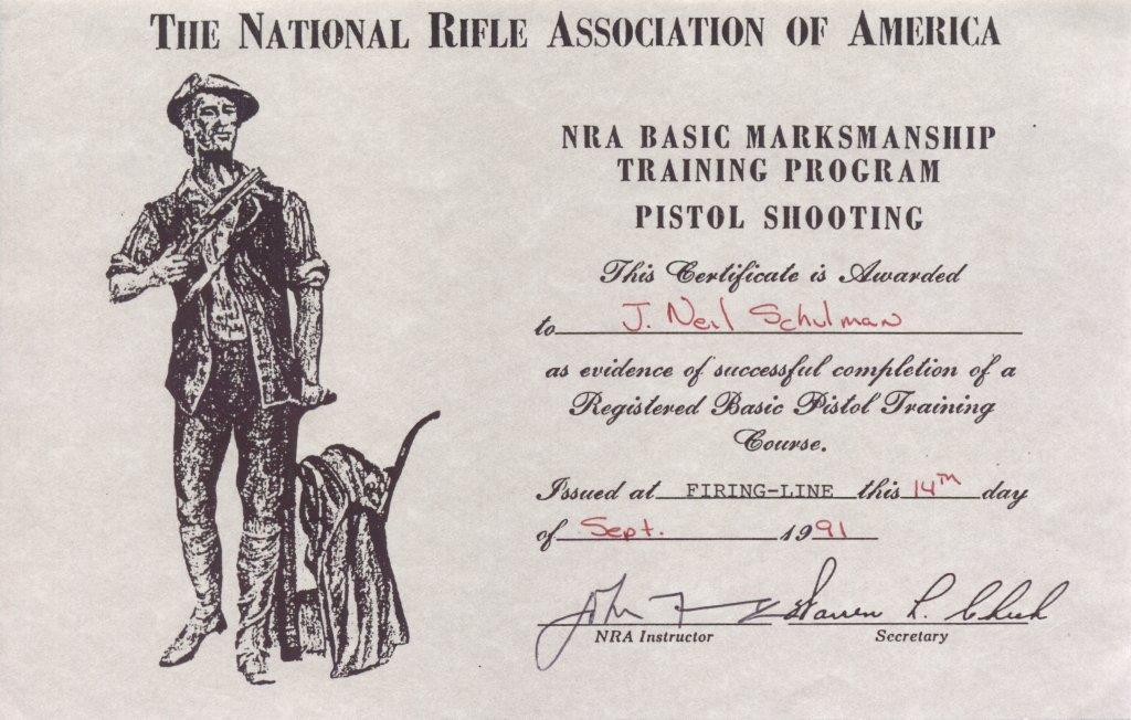 NRA Basic Marksmanship Certificate