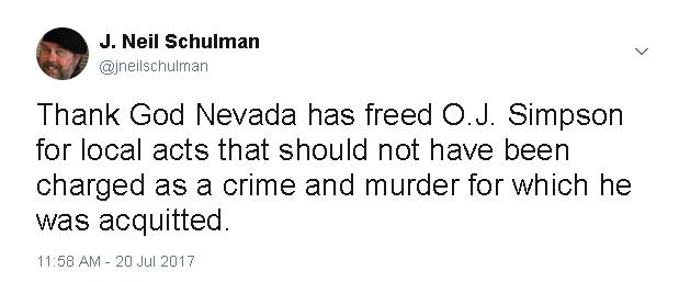 O.J. Freed Tweet