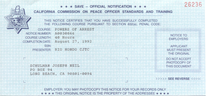 POST Certificate